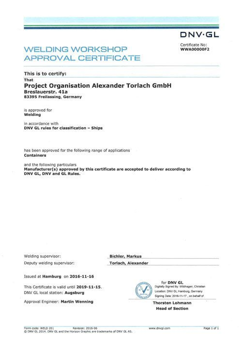 Welding Workshop Approval Certificate