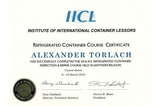 Refrigerated Container Course Certificate